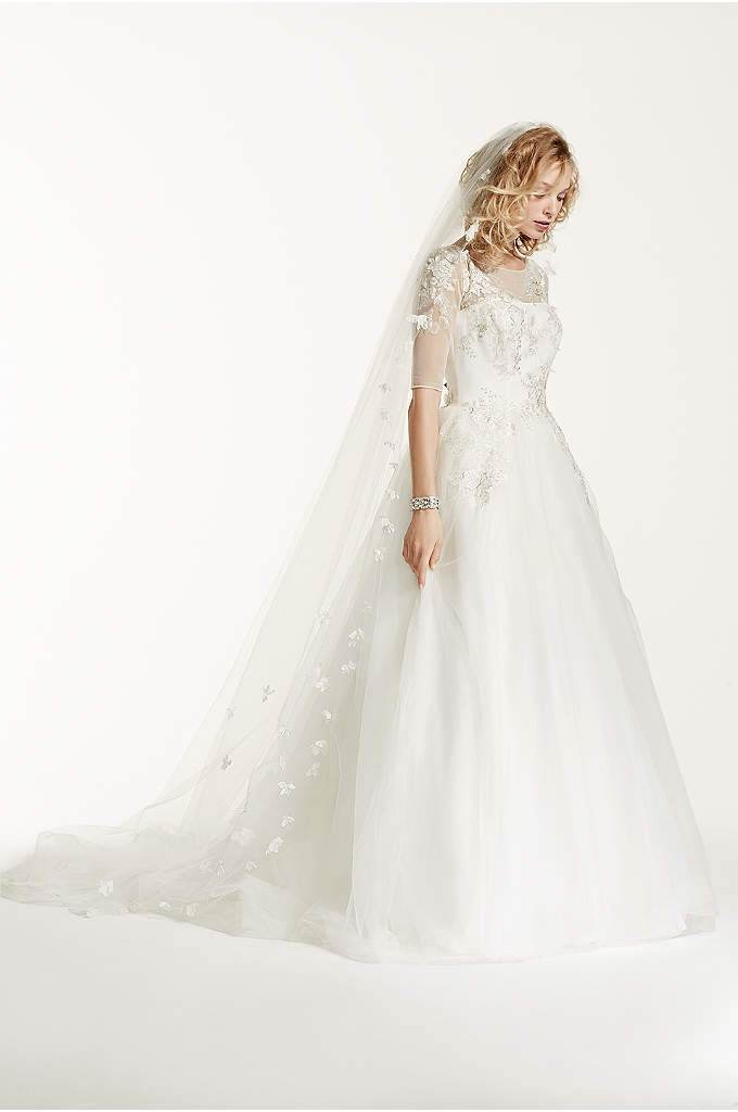 Single Tiered 3D Scattered Floral Cathedral Veil - Whimsically decorated with three dimensional flowers, this breathtaking