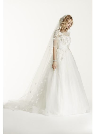 Single Tiered 3D Scattered Floral Cathedral Veil WPD16286