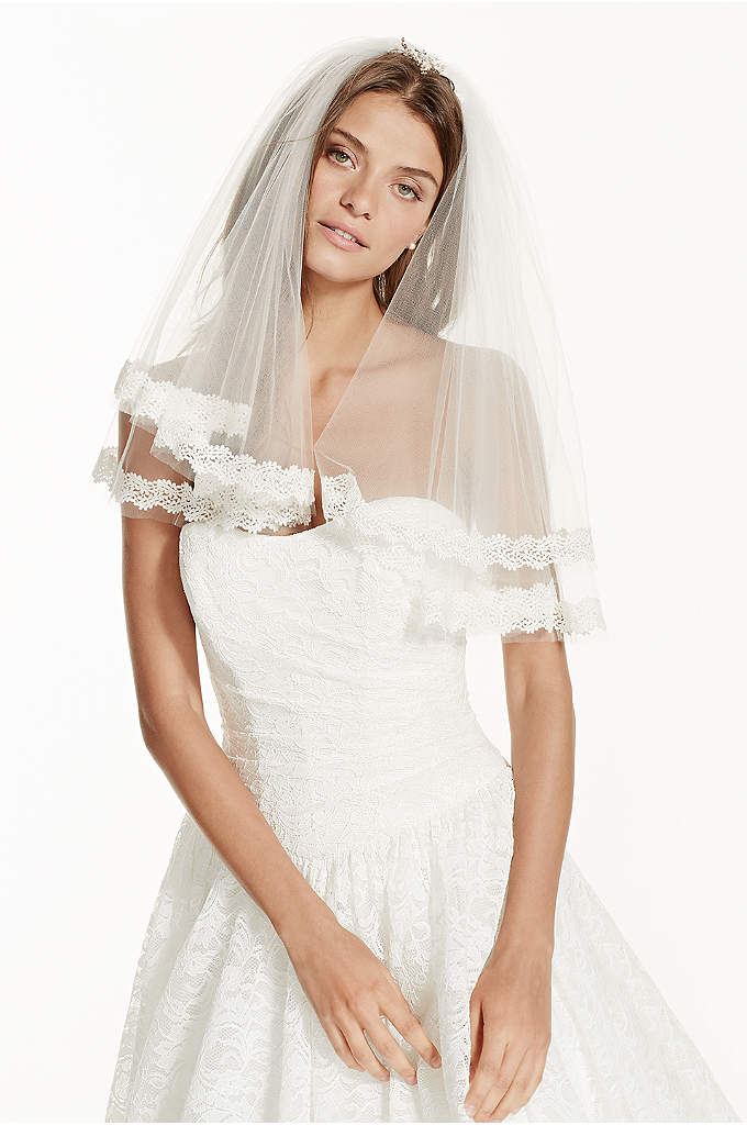 Two Tier Short Length Veil with Lace - Complete your bridal look with this traditionally romantic