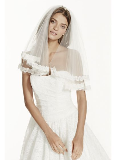 Two Tier Short Length Veil with Lace - Wedding Accessories