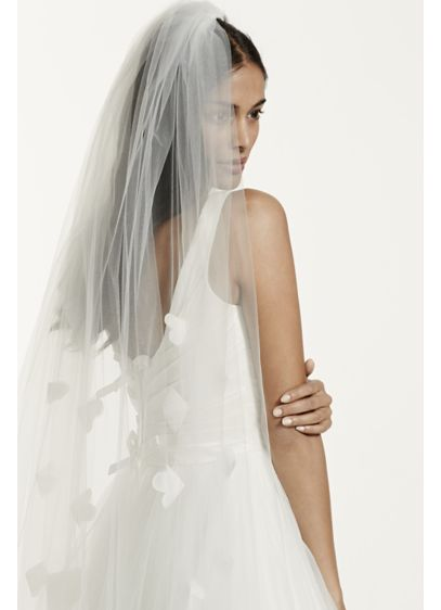 Cathedral Length Veil with Organza Floral Detail - Wedding Accessories