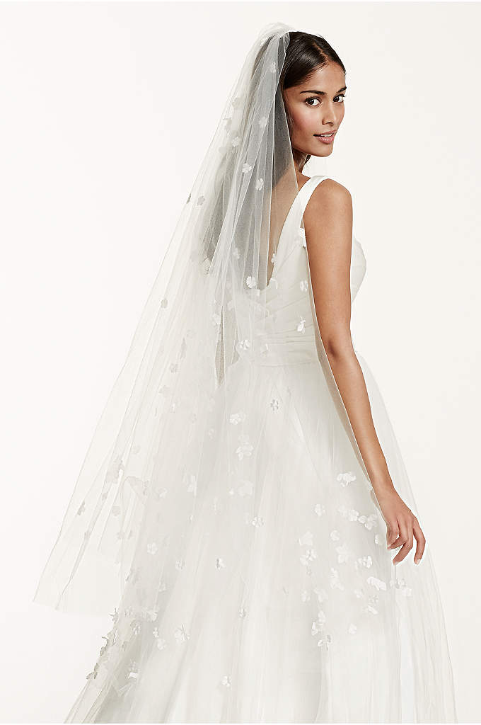 Two Tier Veil with Scattered 3D Floral Detail - Delicate and ultra-feminine, this precious 3D scattered floral