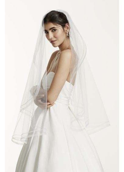 One Tier Mid Length Veil with Faux Horse Hair Edge - Wedding Accessories