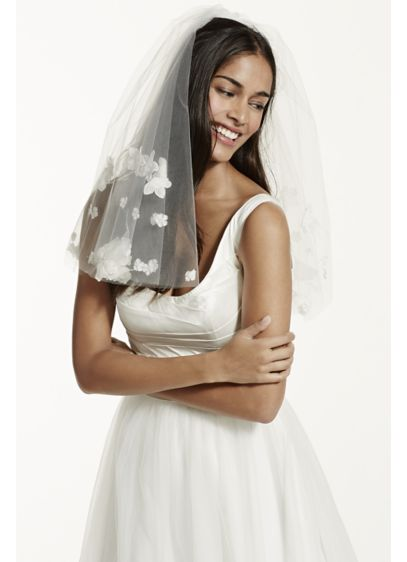 Short Two Tiered Veil with Scattered Floral Detail - Wedding Accessories