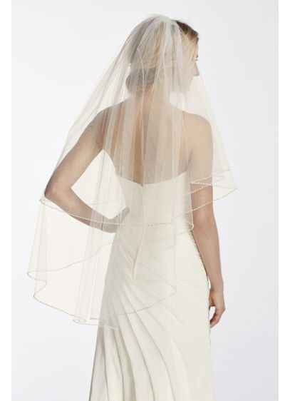 Two Tier Mid Length Veil with Pearl Edge - Wedding Accessories