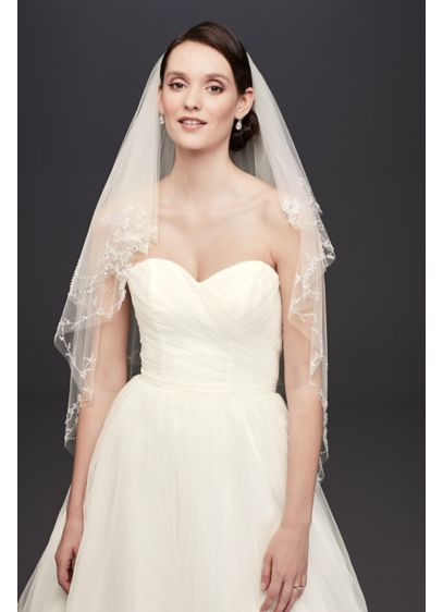 Two Tier Mid Length Veil with Beaded Edge - Wedding Accessories