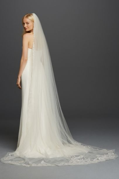 One Tier Cathedral Sequin Embroidered Edge Davids Bridal