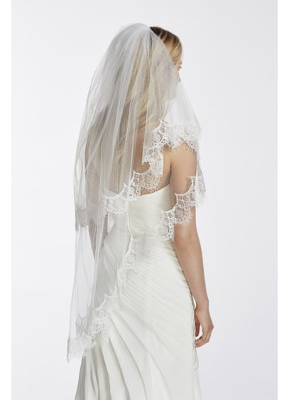 Two Tier Scalloped Edge Lace Mid Length Veil - Wedding Accessories