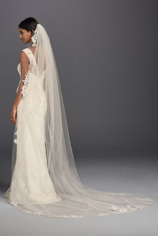 One Tier Sequin And Lace Cathedral Veil David S Bridal