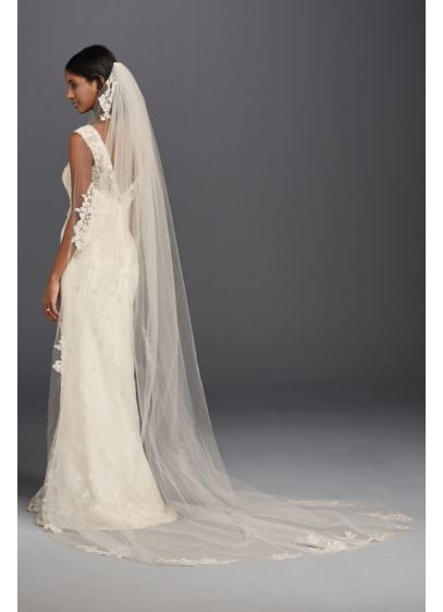 One Tier Sequin and Lace Cathedral Veil - Wedding Accessories