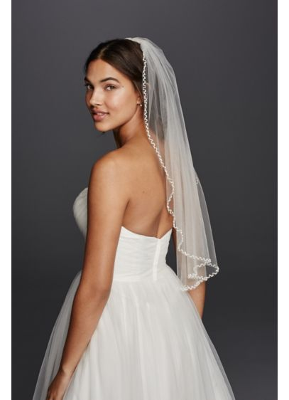 One Tier Beaded Edge Mid Length Veil - Wedding Accessories