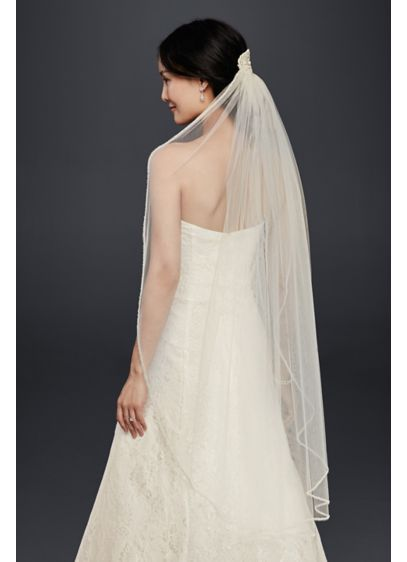 Mid-Length Veil With Beaded Lace Applique - Wedding Accessories