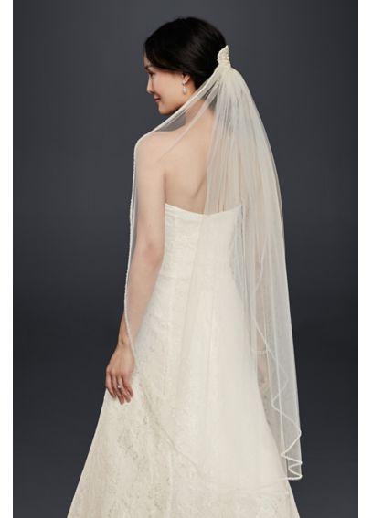 Mid-Length Veil With Beaded Lace Applique WPD20242