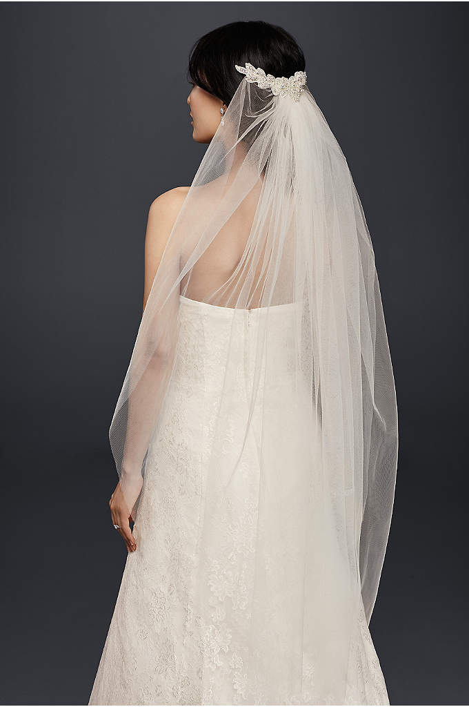 Mid-Length Veil with Floral Comb Detail - Beaded flowers adorn the comb that tucks this