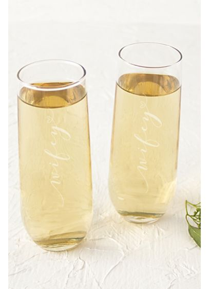 Wifey and Wifey Stemless Champagne Flutes - Wedding Gifts & Decorations