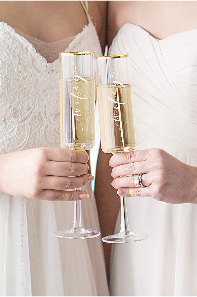 Wifey and Wifey Gold Rim Champagne Flutes - Toast to your newlywed status with the Wifey