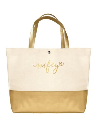 DB Exclusive Wifey Metallic Dipped Tote Bag - Wedding Gifts & Decorations
