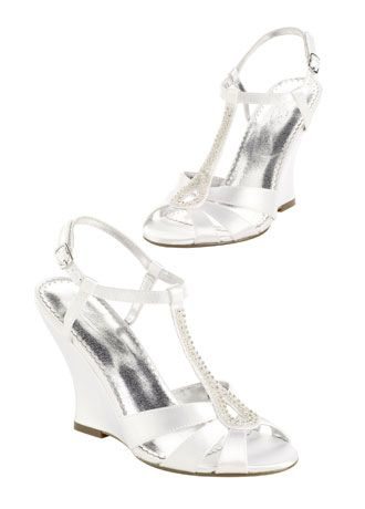 Dyeable High Heel Wedge Sandal with Beaded TStrap Davids Bridal