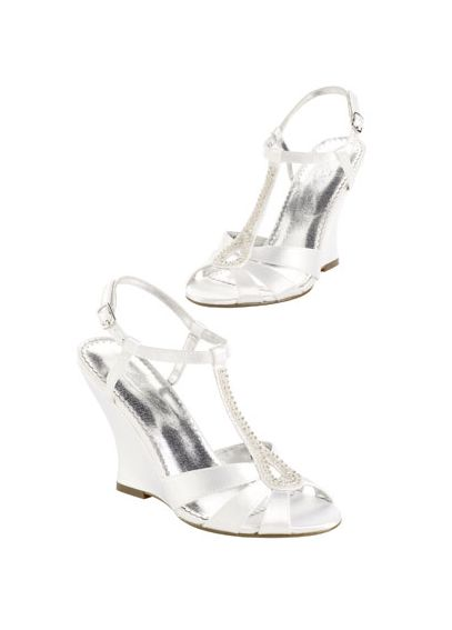 Dyeable High Heel Wedge Sandal with Beaded T-Strap Willow
