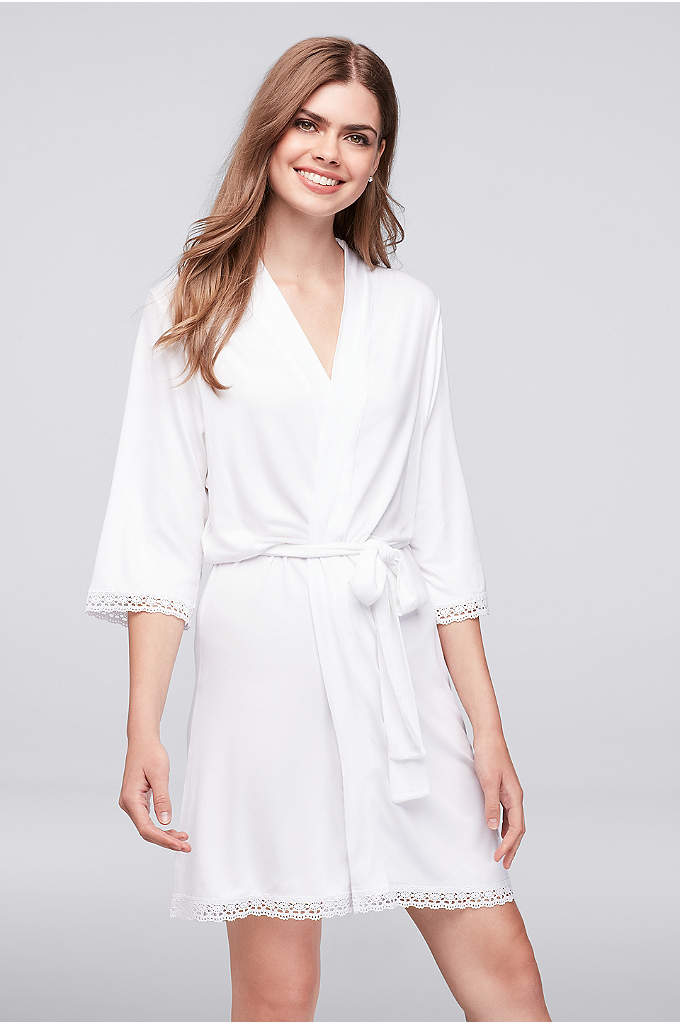 White Knit Robe with Lace Edge - This cozy, lace-trimmed jersey robe is perfect for