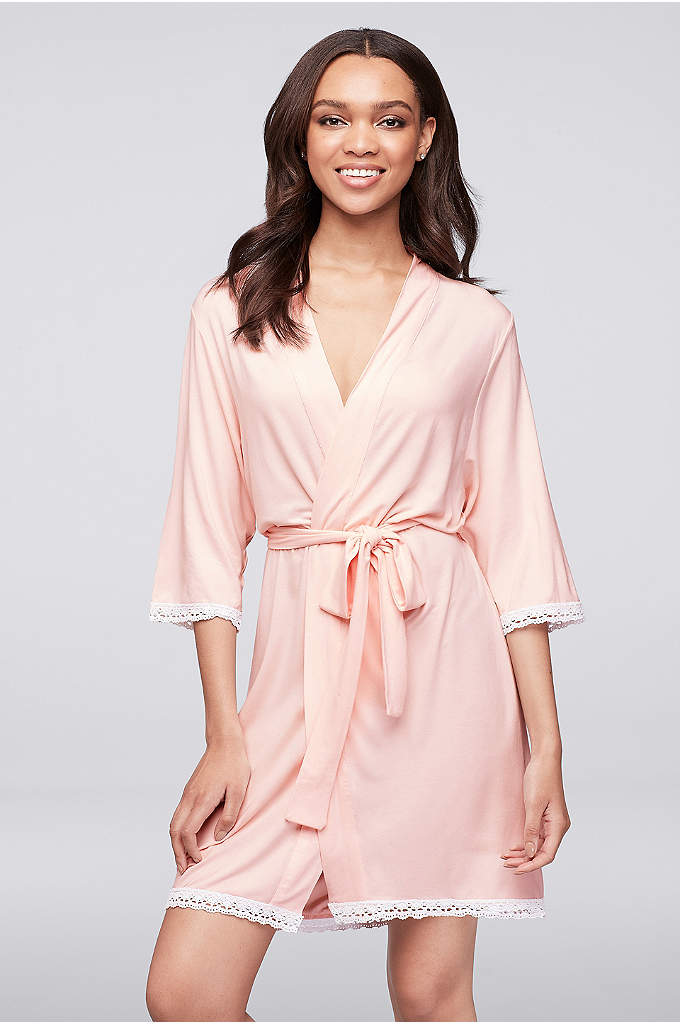 Pink Knit Robe with Lace Edge - This cozy, lace-trimmed jersey robe is perfect for