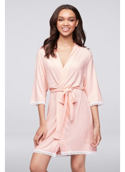 Pink Knit Robe with Lace Edge - Wedding Gifts & Decorations