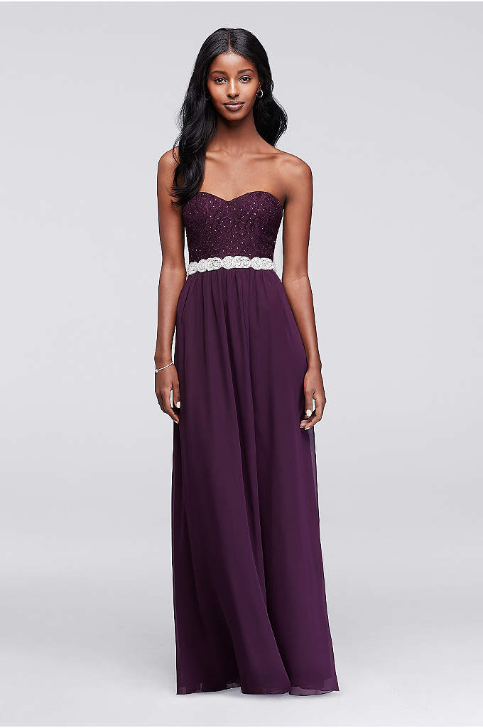 Strapless Chiffon Prom Dress with Beaded Sash