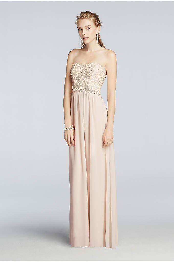 Strapless Chiffon Pastel Prom Dress