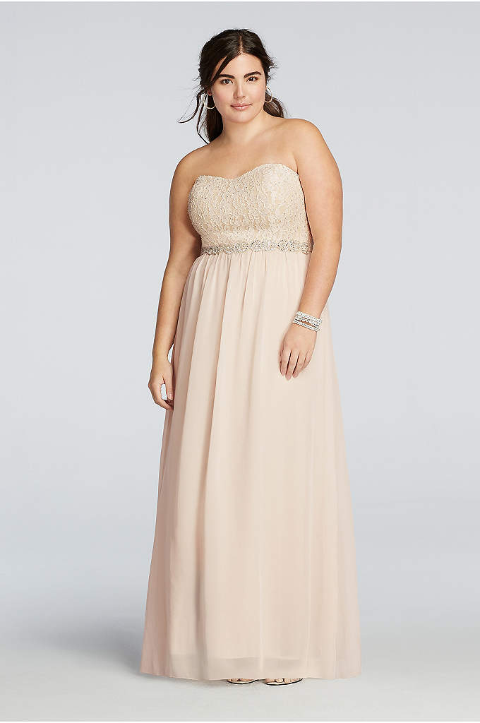 Chiffon Plus Size Prom Dress with Beading - Pretty and pastel, you'll be one flawless Prom