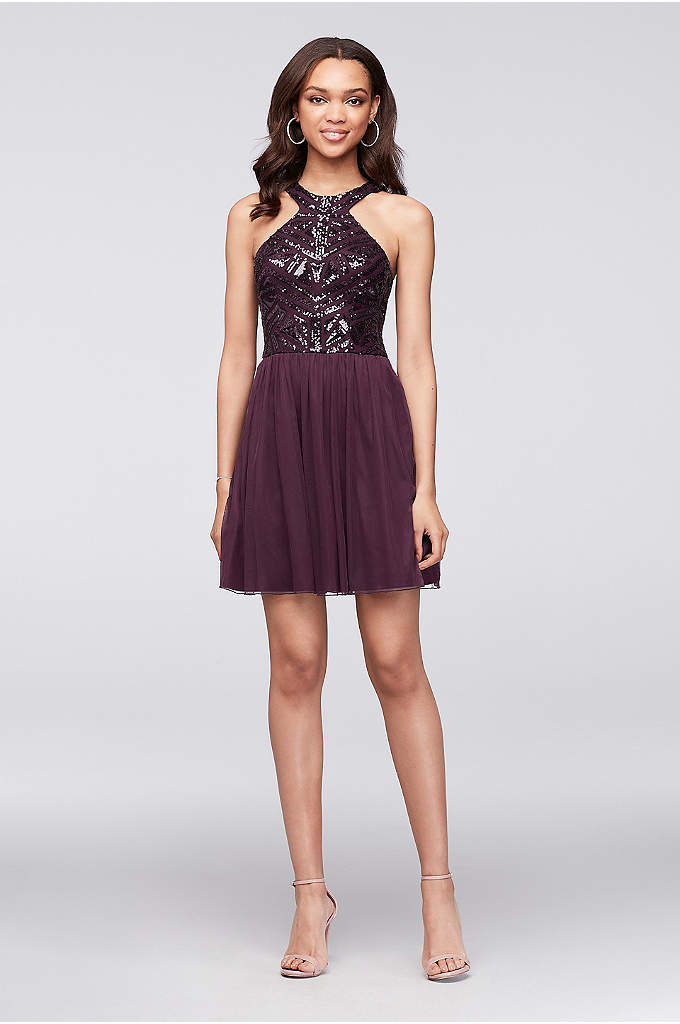 Geometric Sequin and Mesh Dress with Keyhole Back - As stunning as this mesh dress's geometric sequin