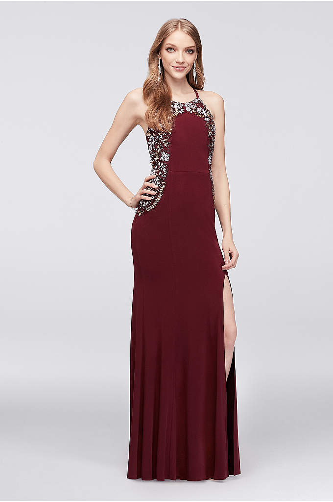 High-Neck Jersey Sheath Gown with Floral Beading - Fresh floral beading trims the high neckline and