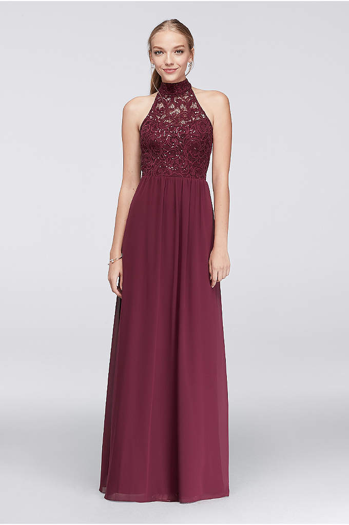 Chiffon High-Neck Gown with Ladder Back Detail - The high-neck illusion lace bodice of this chiffon