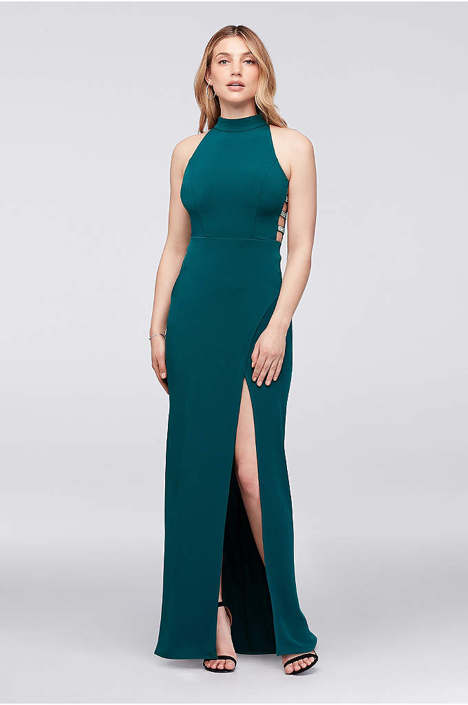 High-Neck Jersey Gown with Ladder Side Detail - Crystal-studded straps form a chic ladder-like detail on