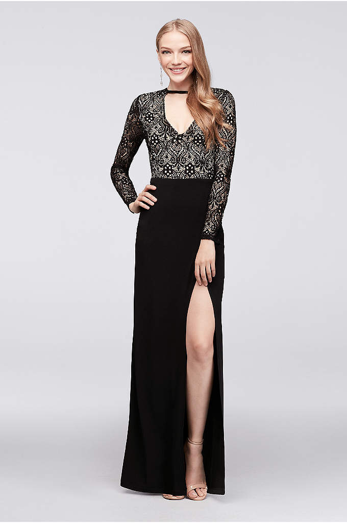 Deep V-Neck Sequin Lace and Jersey Sheath Gown - A chic choice for a sophisticated event, this
