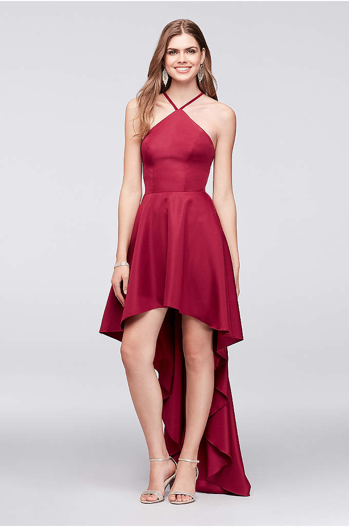 High-Low Mikado Halter Dress with Strappy Back - Take a spin on the dance floor in