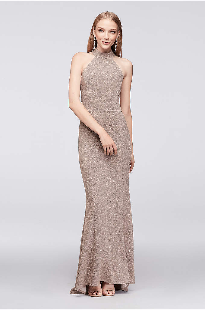 Textured Glitter Sheath Gown with Fishtail Hem - A unique caged back and fishtail hem makes