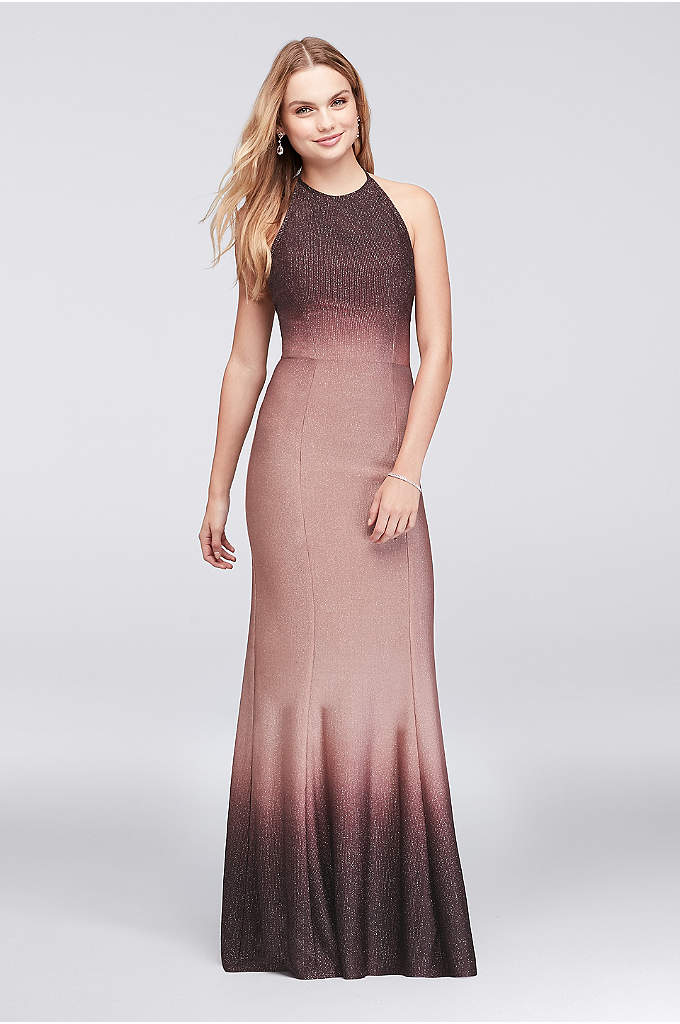 Ombre Glitter Knit Halter Sheath Gown - With an of-the-moment ombre fade, this soft jersey