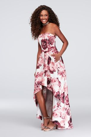 Floral-Printed High-Low Satin Twill Ball Gown - Big, bold flowers bloom on this high-low satin