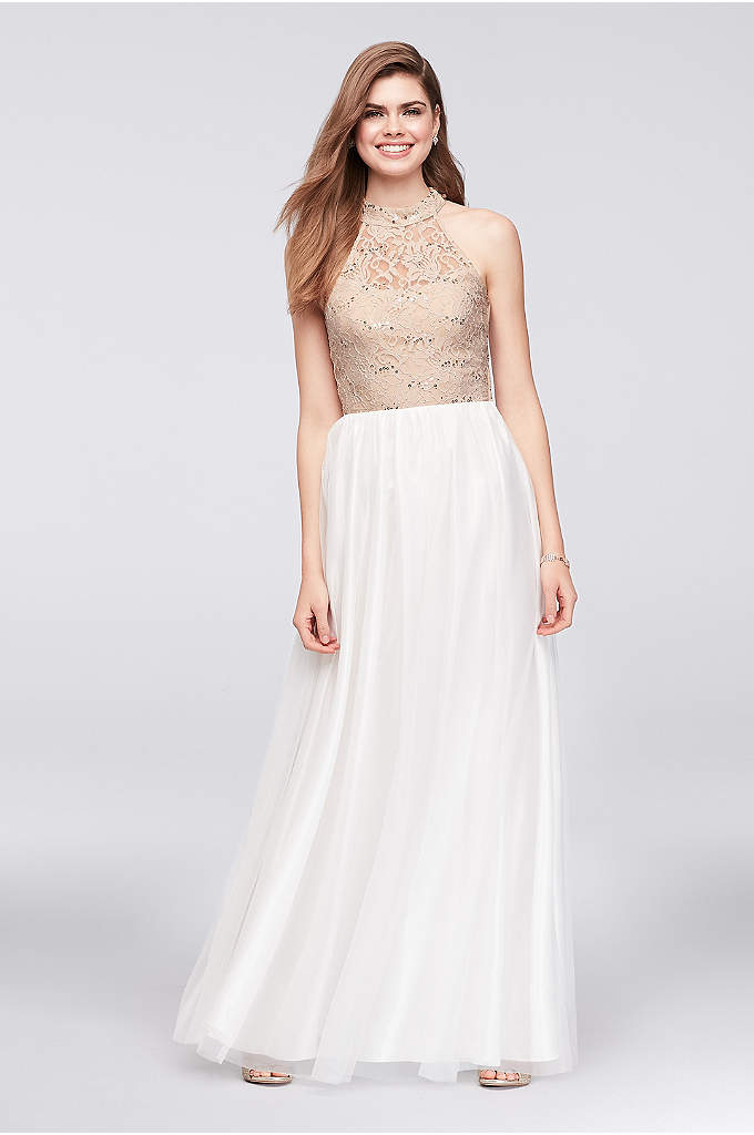 High-Neck Lace and Tulle Gown with Ladder Back - The open, ladder-back detail of this sequined lace