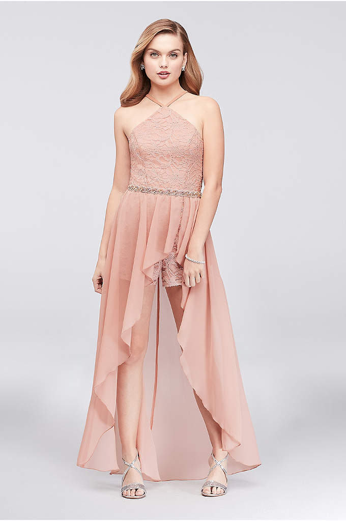 Lace Halter Romper with High-Low Chiffon Overskirt - Tailor-made for dancing the night away, this prom