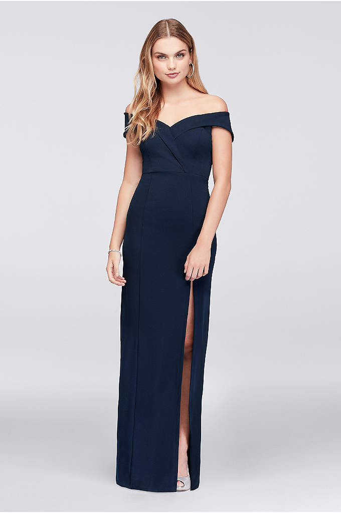 Off-The-Shoulder Scuba Crepe Sheath Gown - Sleek and sophisticated, this scuba-knit crepe sheath gown