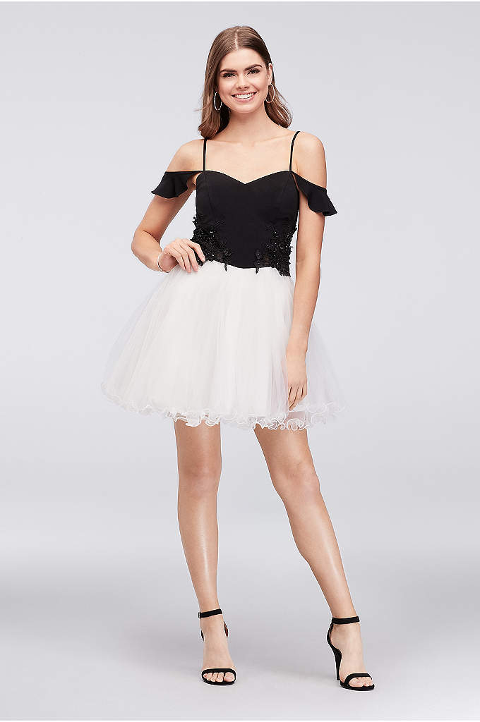Off-the-Shoulder Short Illusion Lace Dress - Eye-catching Illusion lace appliques with sparkling beads adorn