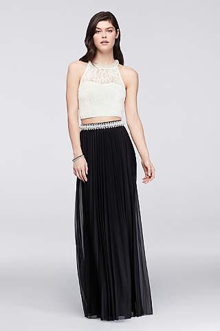 Vestido de 2 Piezas de Crop Top de Encaje y falda Plisada