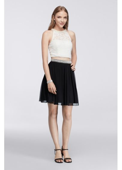 Pearl-Embellished Homecoming Crop Top and Skirt X90262HVA