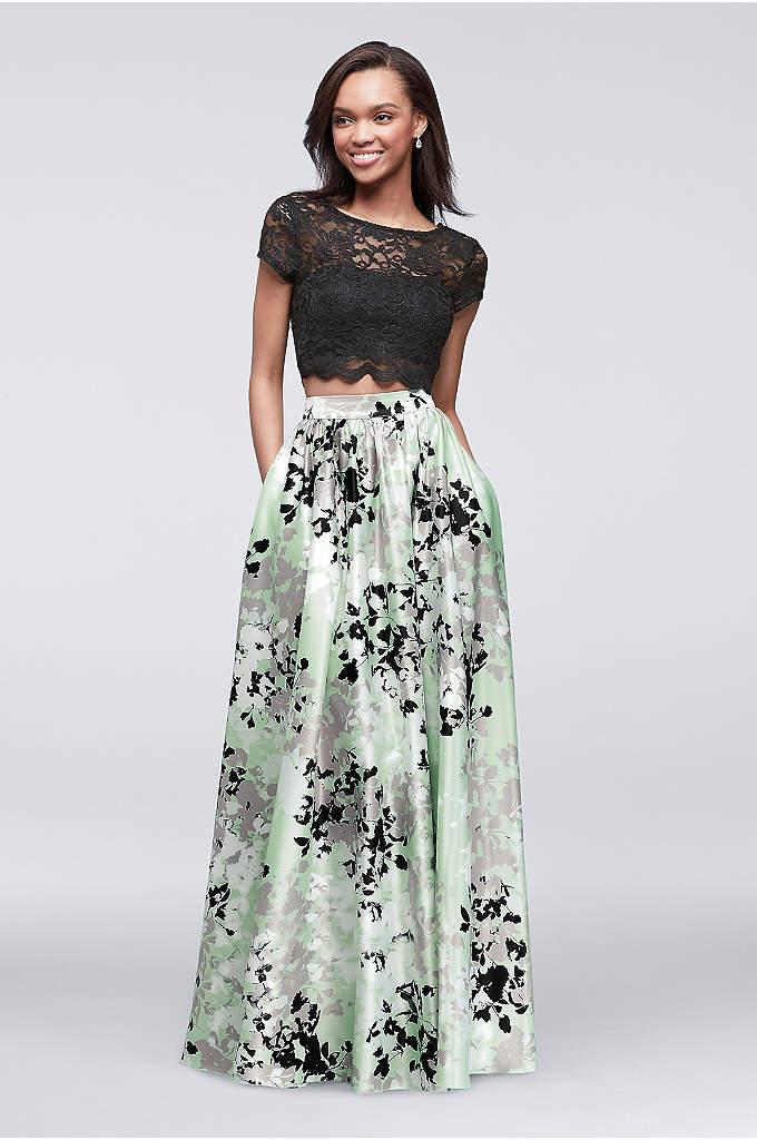 Long charmeuse halter print prom dress