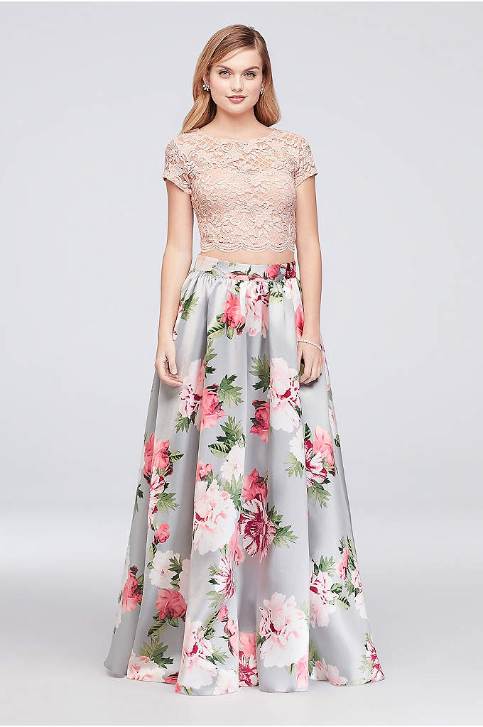 Floral-Printed Mikado and Lace Two-Piece Dress - With an illusion lace, cap-sleeve crop top and