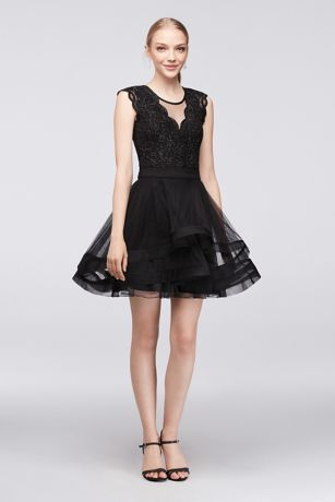 Glitter lace bodysuit and tiered mesh skirt set david 39 s for Wedding dress bodysuit and skirt