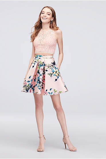 Glitter Lace Pleated Two-Piece Short Dress