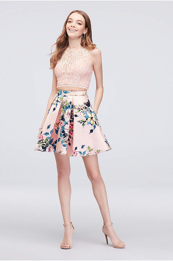 Glitter Lace Pleated Two-Piece Short Dress - A short and sweet alternative to a traditional