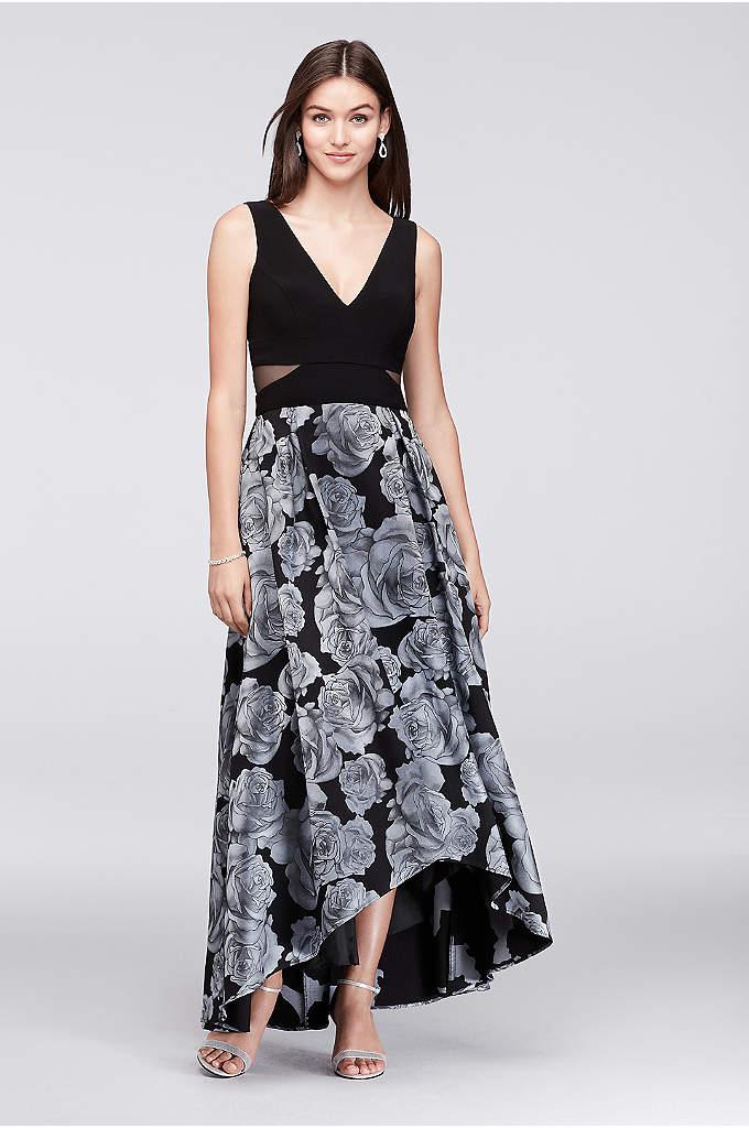 V-Neck High-Low Jacquard Ball Gown - Blue roses bloom on the full jacquard skirt